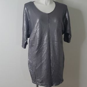 Lane Bryant gray silver sequin dress elbow length